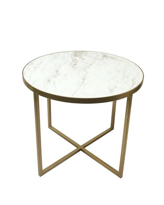 Круглый кофейный столик Корн с мраморной столешницей