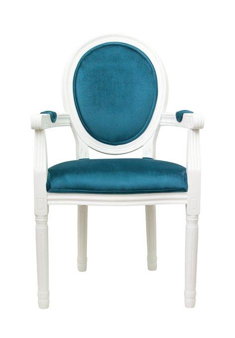 Стул Volker arm blue+white с велюровой обивкой