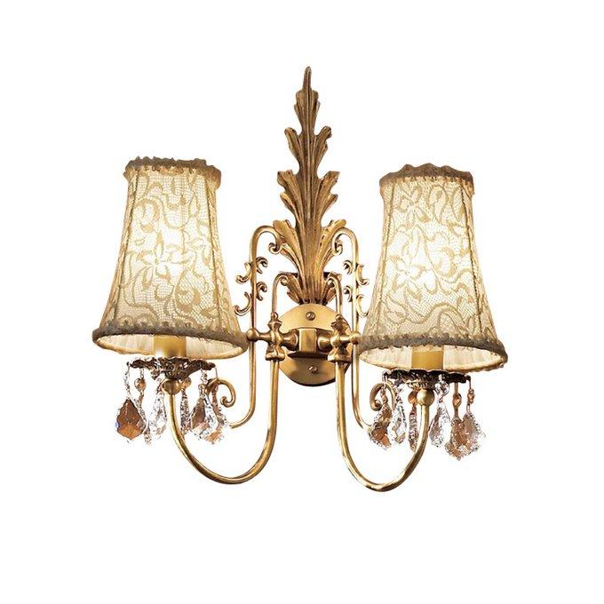 Бра L Paralume Marina золотого цвета с кружевными абажурами и подвесками из прозрачного хрусталя I
