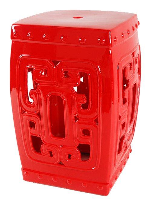 Керамический столик-табурет Oriental Stool Red  в виде барабана