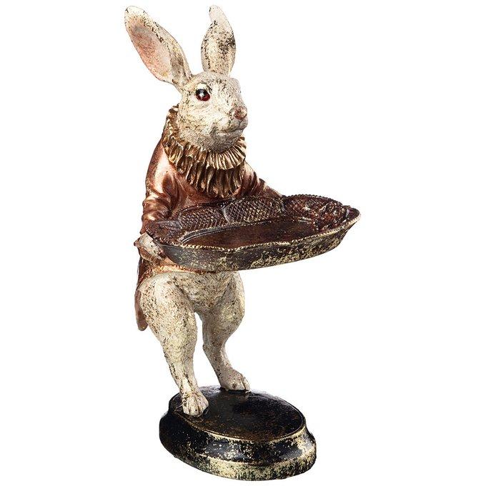 Фигурка Кролик цвета бежевый с золотым и коричневым