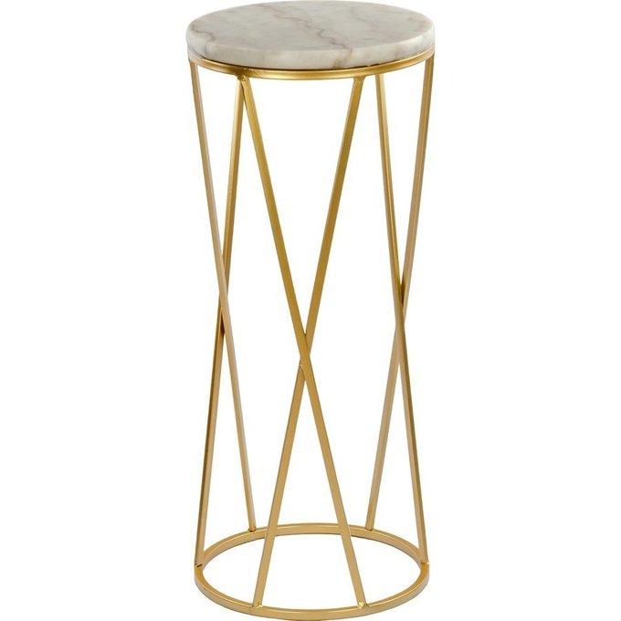 Столик приставной с мраморной столешницей белого цвета