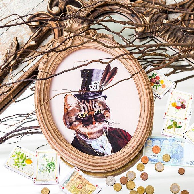 Репродукция гравюры Мистер Кот в раме Бернадетт