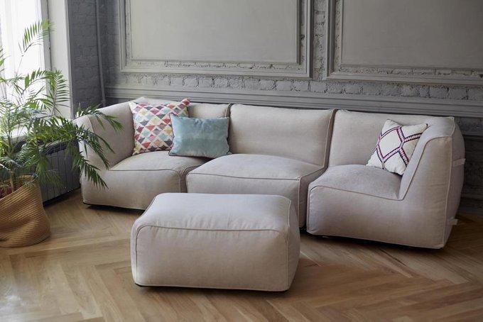 Модульный диван Ivonne Lite с двумя угловыми модулями с велюровой обивкой