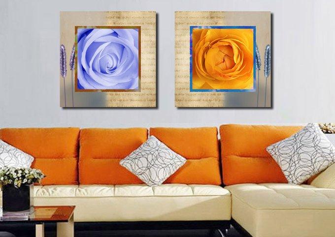 Красивый диптих на холсте: Бутоны роз