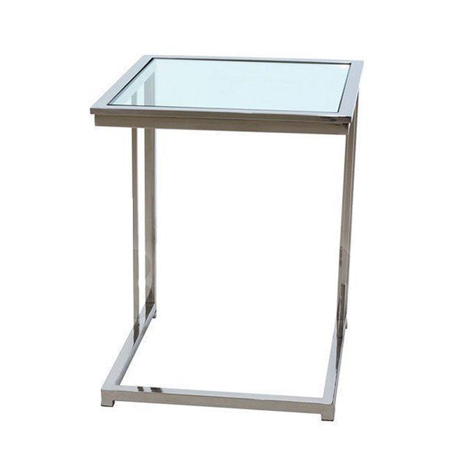 Приставной журнальный столик Van Roon BERGMANN со столешницей из плотного прозрачного стекла