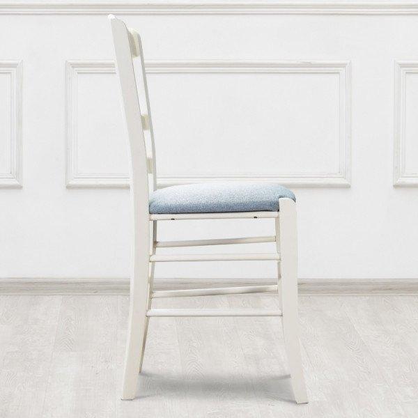 Стул Venecia из массива бука белого цвета и сидушкой голубого цвета