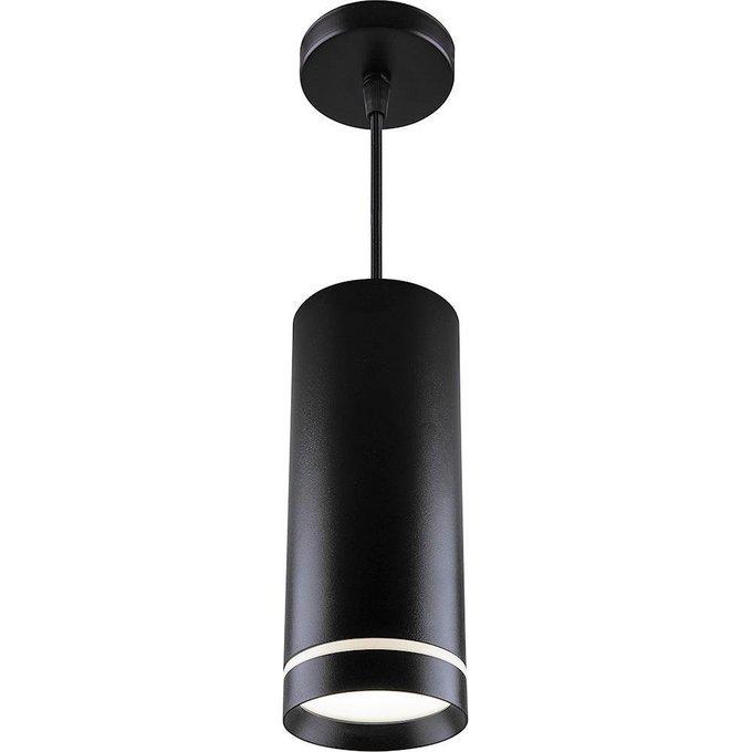Подвесной светодиодный светильник из металла и пластика черного цвета