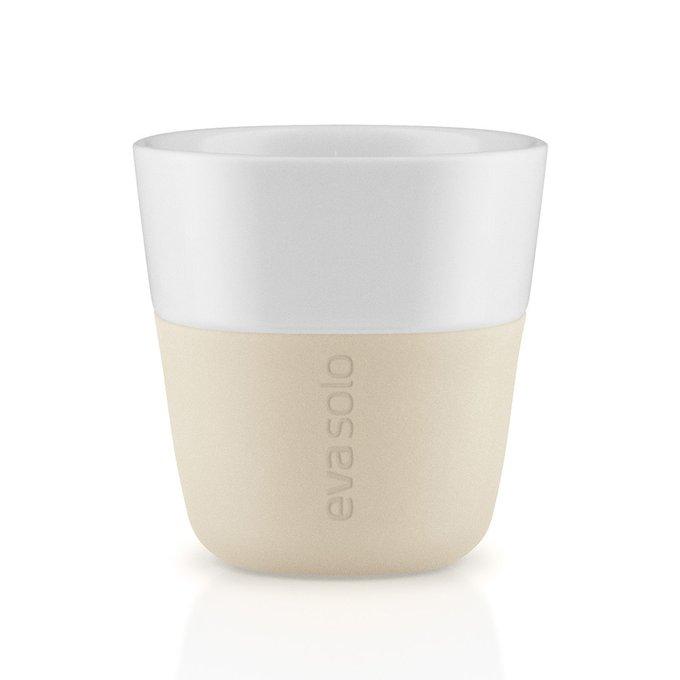 Набор из двух чашек для эспрессо с силиконовым чехлом бежевых