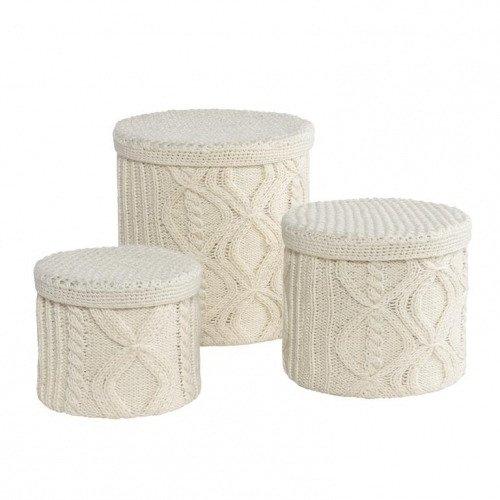 Коробки для хранения вязаные (белые)