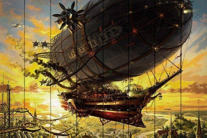 Картина на дереве Летучий корабль 120х180