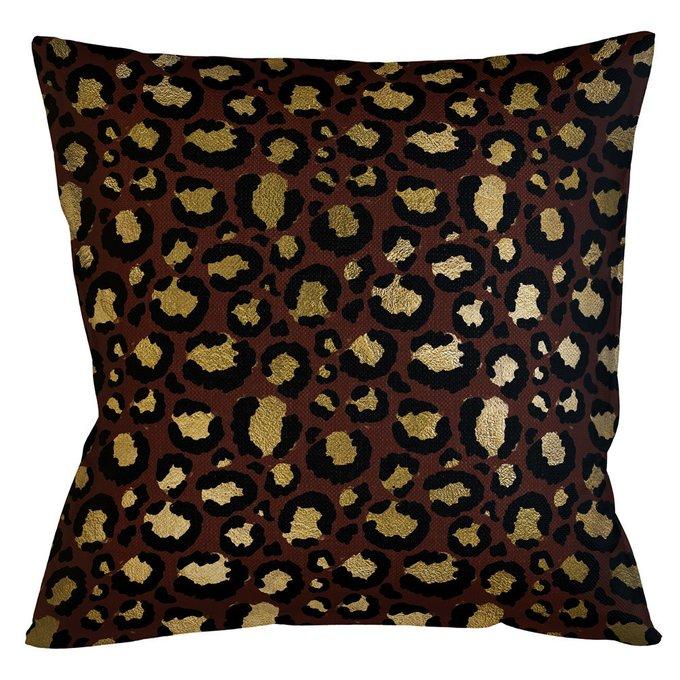 Интерьерная подушка Леопард бордово-золотого цвета
