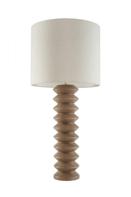 Настольная лампа с деревянным основанием