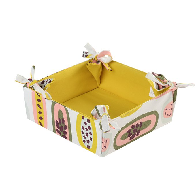 Корзинка для хлеба Wild из хлопка горчичного цвета с принтом Passion Fruit 35х35