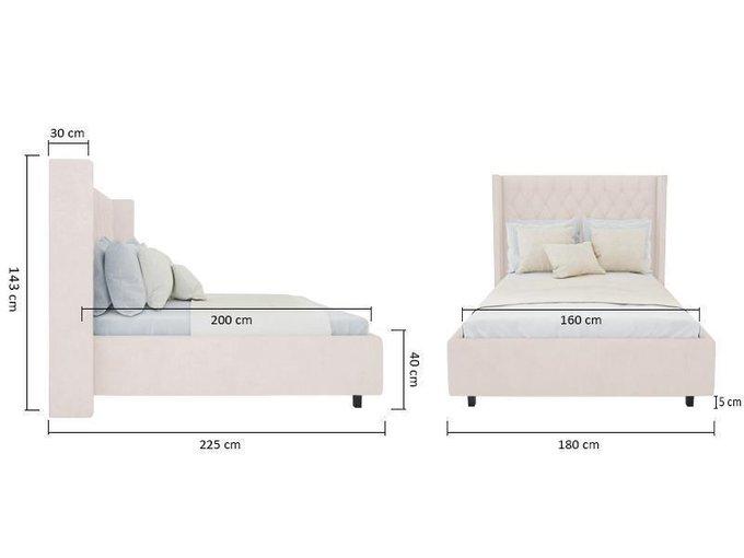Кровать Wing-2 Велюр Светло-бежевый 160х200