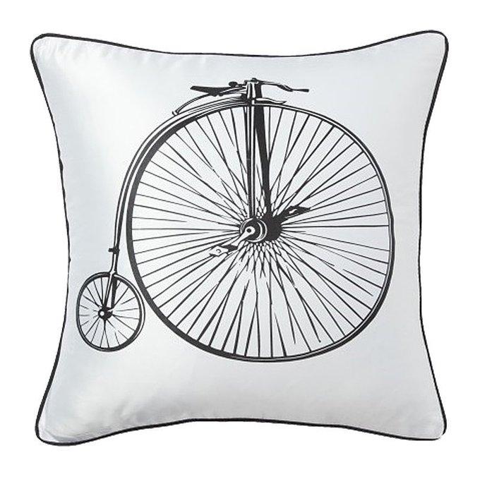 Подушка с принтом Retro Bicycle White