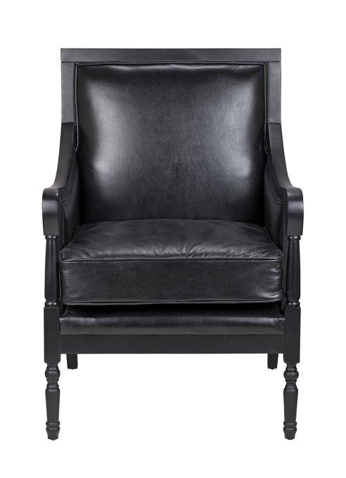 Классическое кресло Colin black leather черного цвета