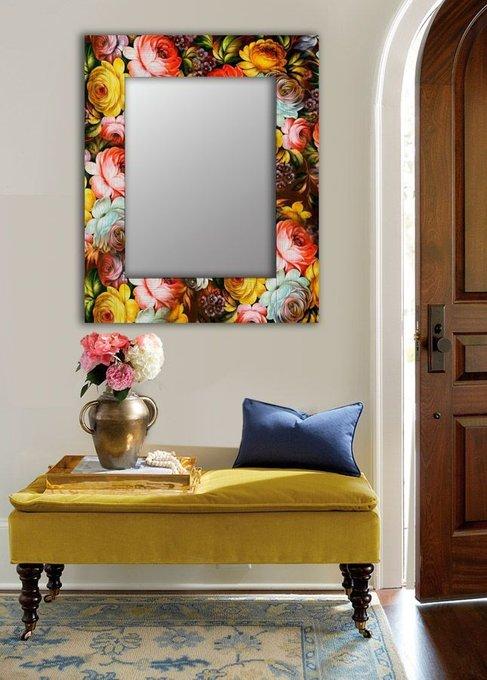 Настенное зеркало Жостовская роспись в раме из массива сосны 65х80