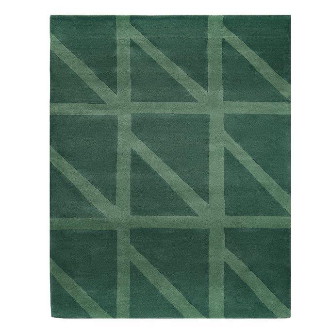 Шерстяной ковер Geometric dance зеленого цвета 160х230
