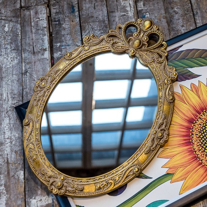 Настенное зеркало Пальметто в золотой раме