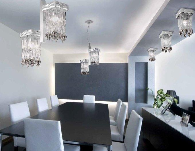 """Потолочный светильник Lamp di Volpato Patrizia """"Alaska"""" из прозрачного стекла с кулонами белого цвета"""