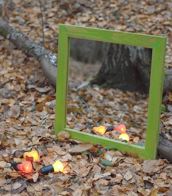Зеркало в зелёной дубовой раме