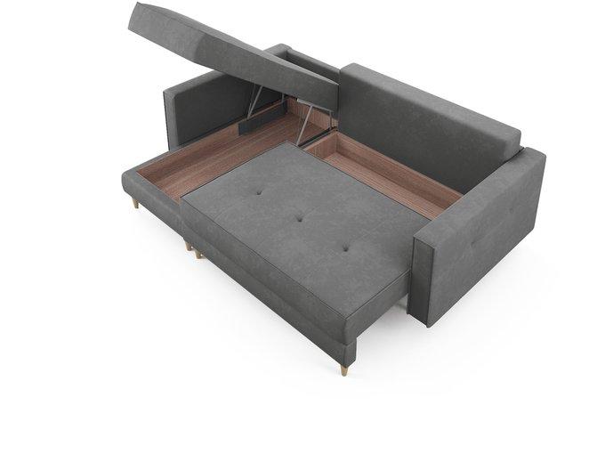 Угловой диван-кровать левый Оtto серого цвета