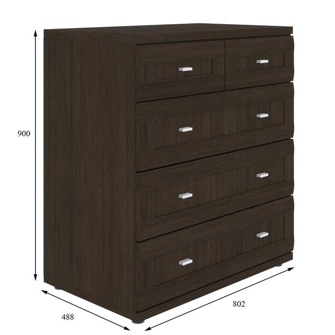 Комод Орнета темно-коричневого цвета с пятью ящиками