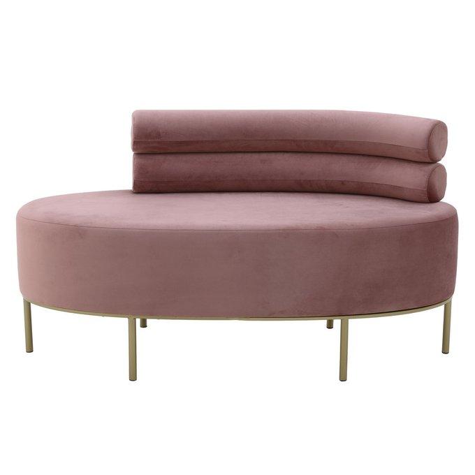 Банкетка розового цвета на металлических ножках
