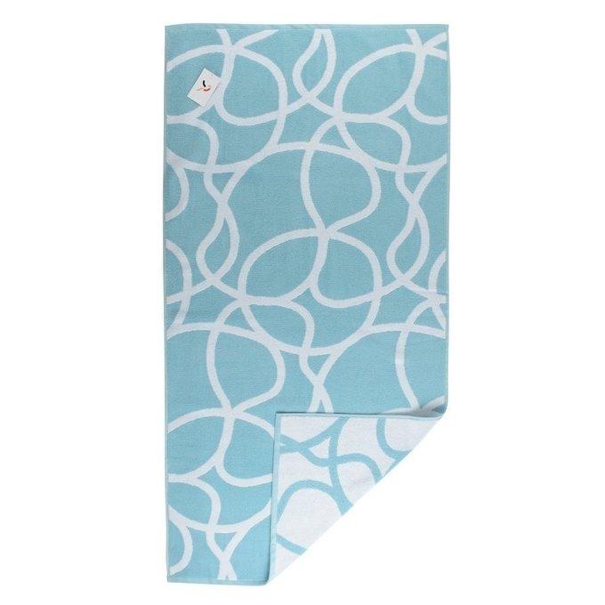 Полотенце жаккардовое с авторским дизайном gravity голубого цвета