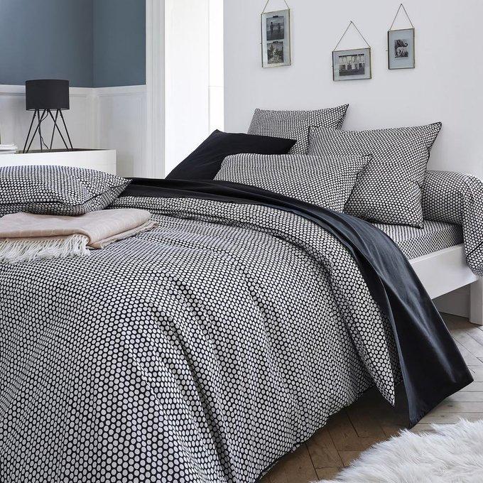 Простынь Duo из перкаля светло-серого цвета 180x290