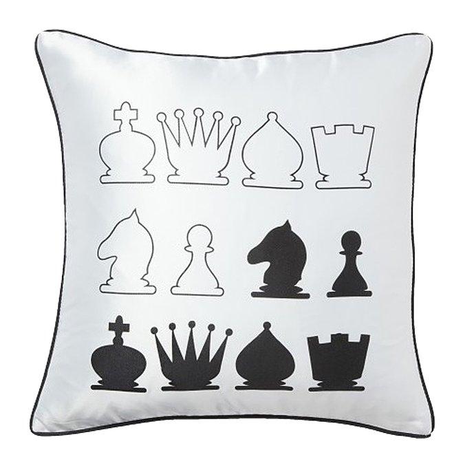 Подушка с принтом Chess White