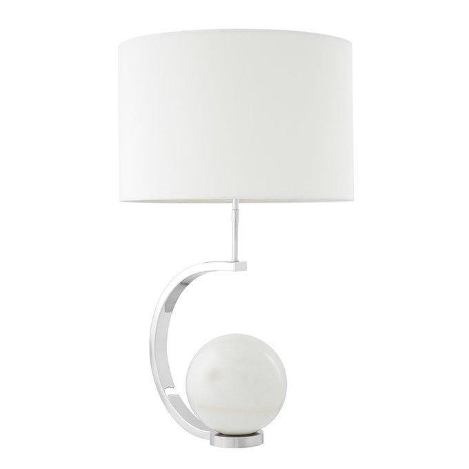 Настольная лампа Luigi nickel с бклым абажуром