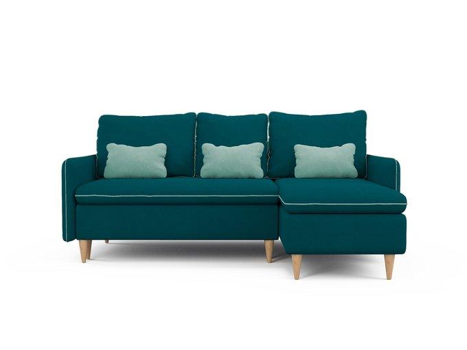 Угловой диван-кровать Ron сине-зеленого цвета