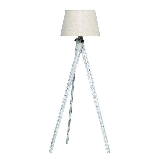 Лампа напольная с бежевым абажуром