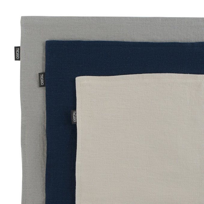 Двухсторонняя салфетка под приборы из умягченного льна бежевого цвета