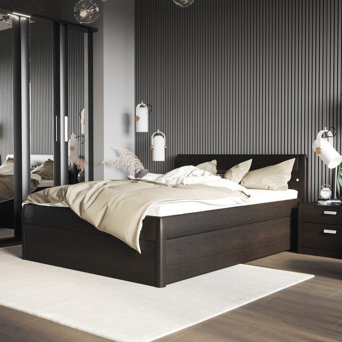 Кровать Илона 180х200 темно-коричневого цвета с подъемным механизмом