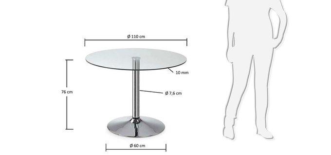 Круглый обеденный стол Julia Grup Florida из закаленного стекла и хромированной стали