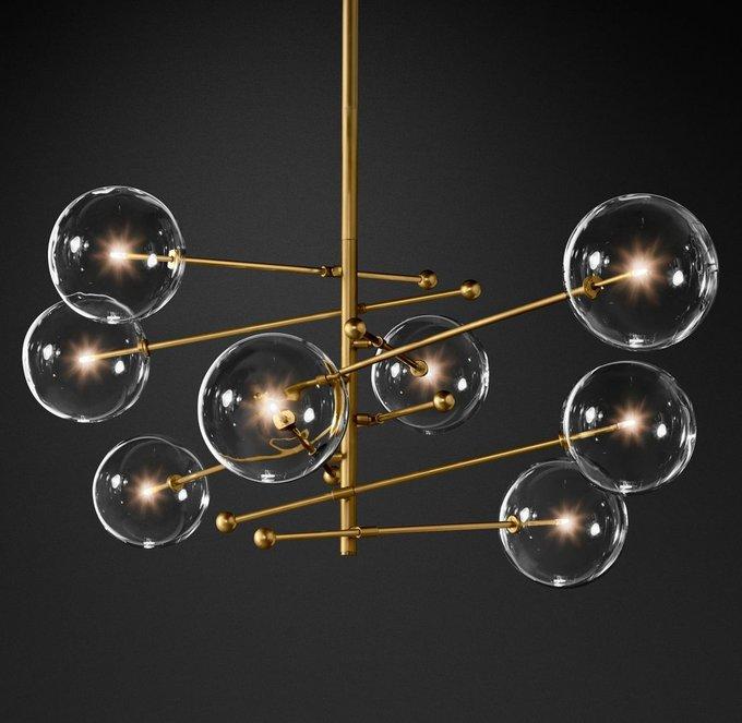 Подвесной светильник Globe Mobile brass с плафонами из прозрачного стекла