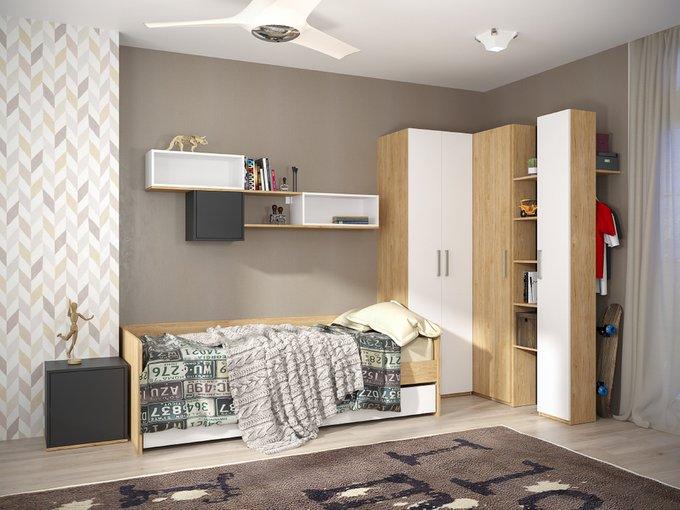 Кровать Гравити с ортопедическим основанием цвета гикори рокфорд натуральный/белый премиум 90х200