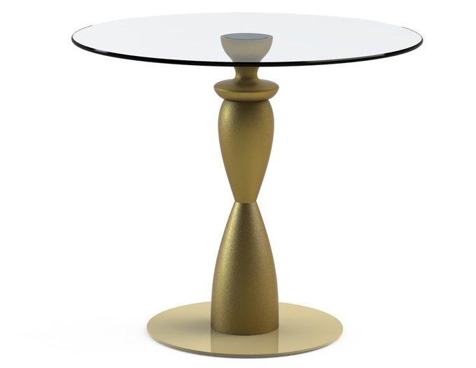 """Обеденный стол """"CANTALESO Gold"""" с круглой столешницей из закаленного стекла"""