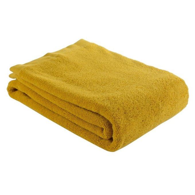 Полотенце банное из хлопка горчичного цвета