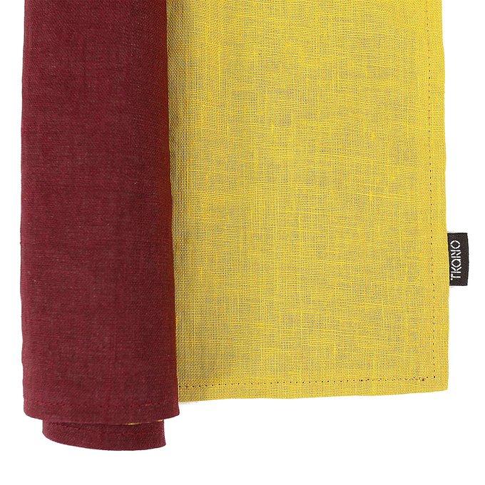 Двухсторонняя салфетка под приборы из умягченного льна с декоративной обработкой