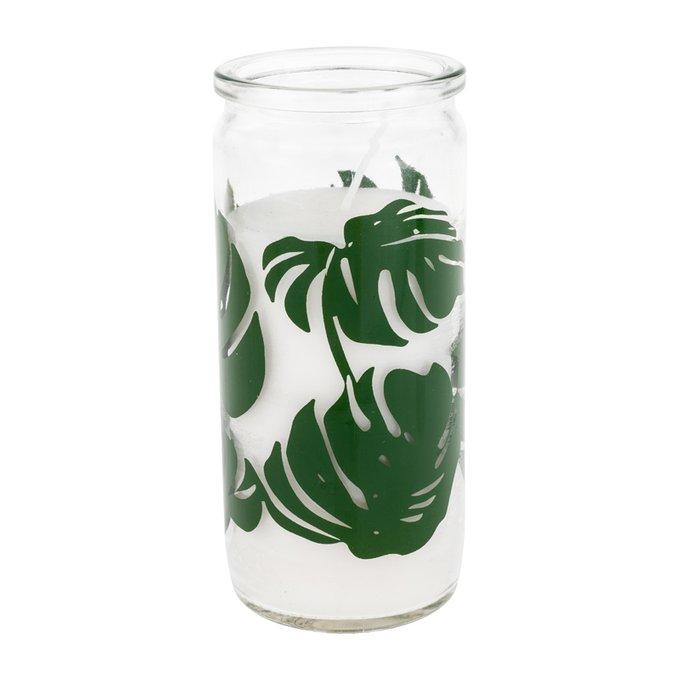 Свеча в стакане Monstera с графическим рисунком
