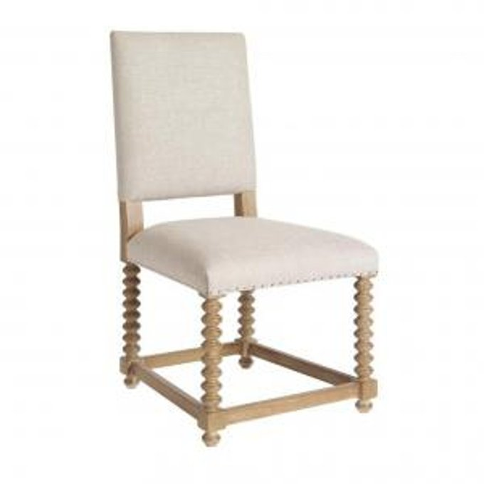 SPOOL SIDE CHAIR IN LIGHT LINEN