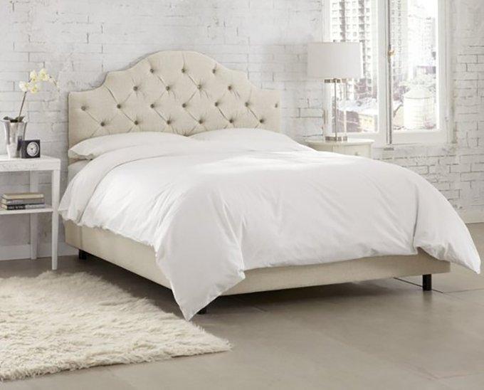 Кровать Henley Tufted Talc бежевого цвета 160х200