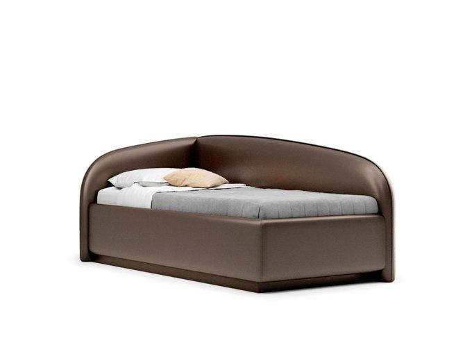 Кровать Amelia левая темно-коричневого цвета с решеткой 90х190
