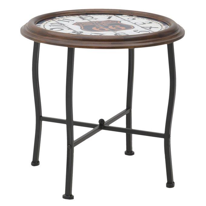 Кофейный столик из дерева с изображением часов