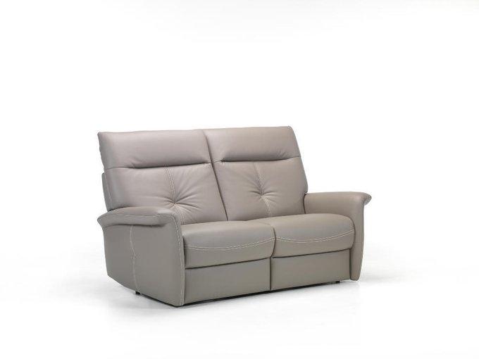 Прямой диван из кожи Versailles серого цвета