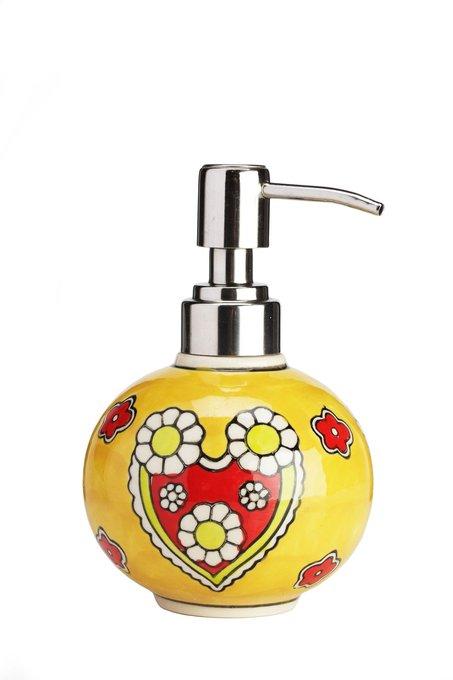 Дозатор для жидкого мыла, раскрашенный вручную Yellow Flowers